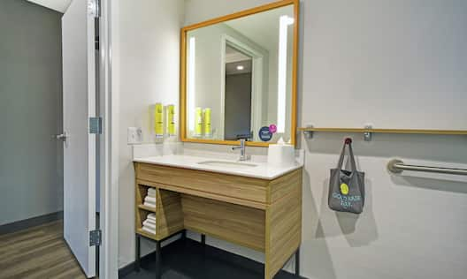 Accessible Bathroom with Vanity and Mirror