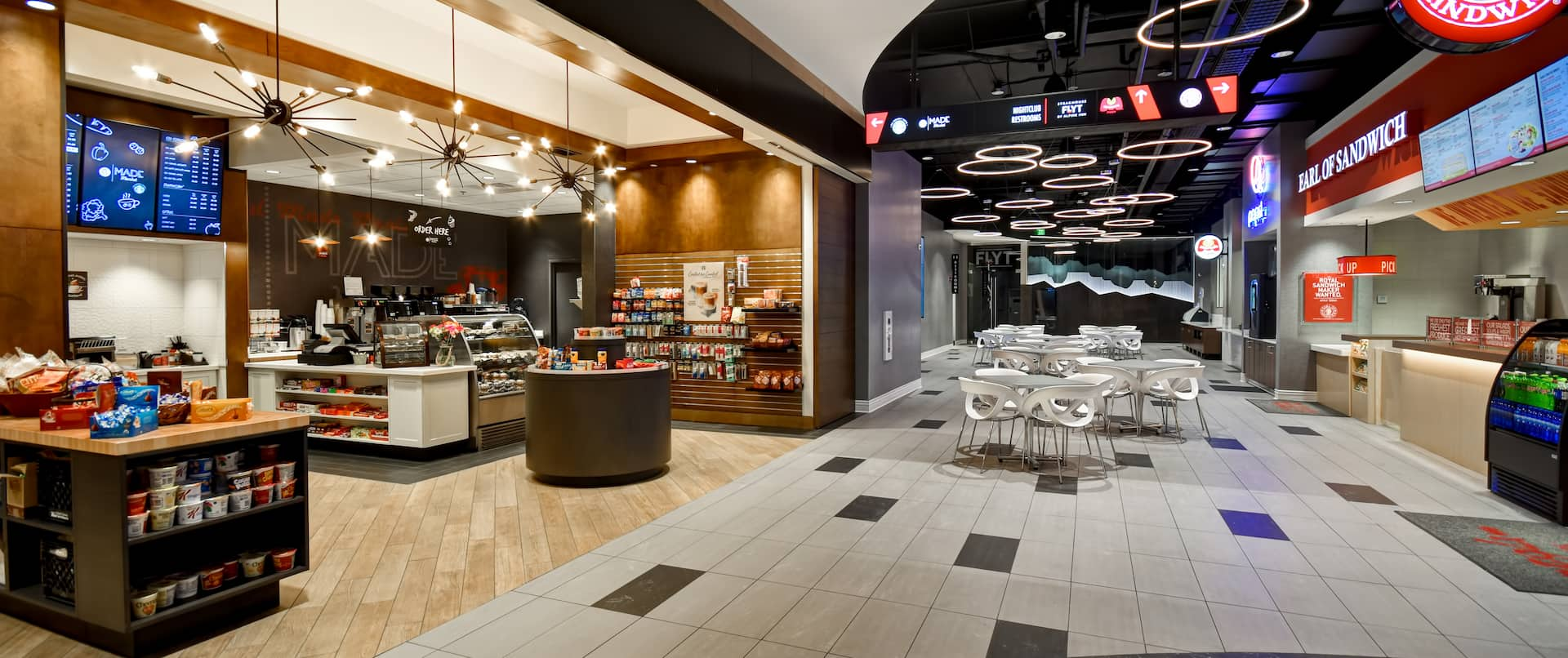 View of Food Court FLYT Marcos Pizza & Earl of Sandwich