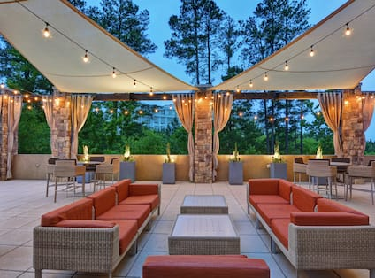 Outdoor terrace with seating