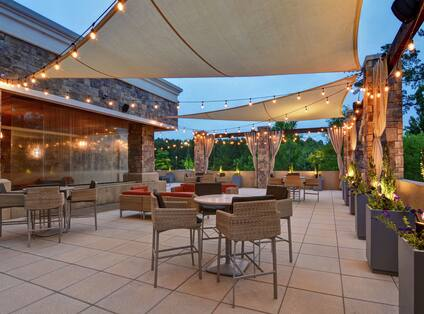 Outdoor terrace with seating area