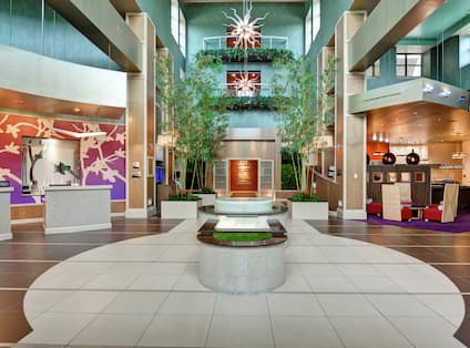 Lobby area with plants