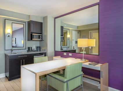 Suite with Spacious Work Desk Area and Wet Bar