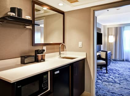 Wetbar with Sink, Mini Fridge, Microwave and Mirror with View into Separate Bedroom