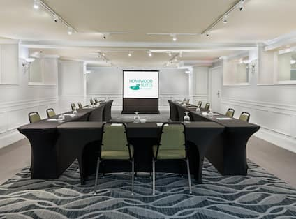 Homewood Suites Raleigh-Durham AP/Research Triangle Hotel, NC - Meeting Room with U Shape table, chairs, and presentation screen