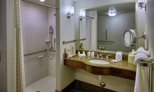 Accessible Guest Bathroom with Roll-In Shower and Handrails