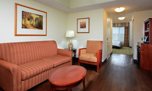 Guest Room Lounge Area with Sofa and Kitchenette