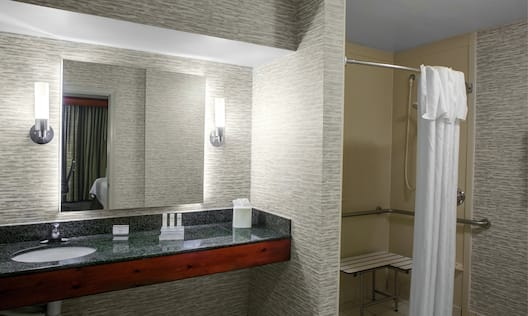Accessible Guest Bathroom with Roll-in Shower and Bench Seat