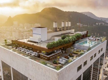 Aerial View of Hotel Rooftop with Swimming Pool
