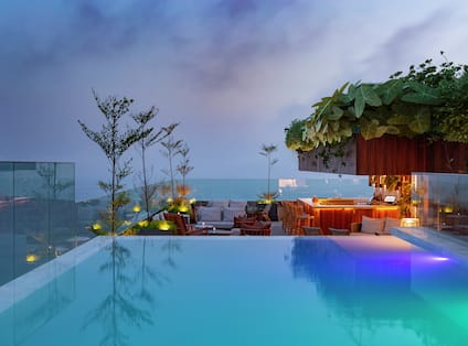 View of Rooftop Pool at Night