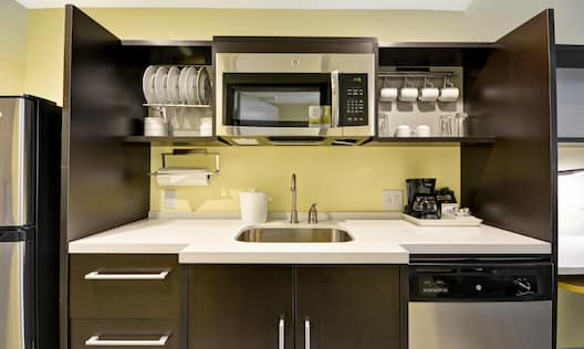Close-Up of Guest Kitchen Counter with Sink, Microwave and Dishwasher