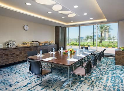 Seating for 10 at LArge Table in Julfar Meeting Room With Refreshment Area and Large Window
