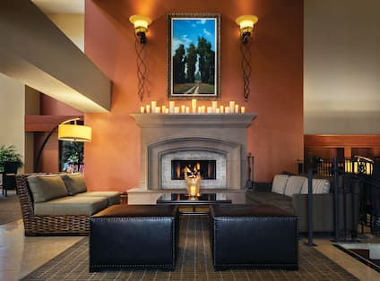Hotel Lobby and Fireplace