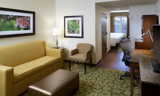 Family Suite Living Room WIth Seating, View of Bedroom, Hospitality Center, Work Desk, and TV