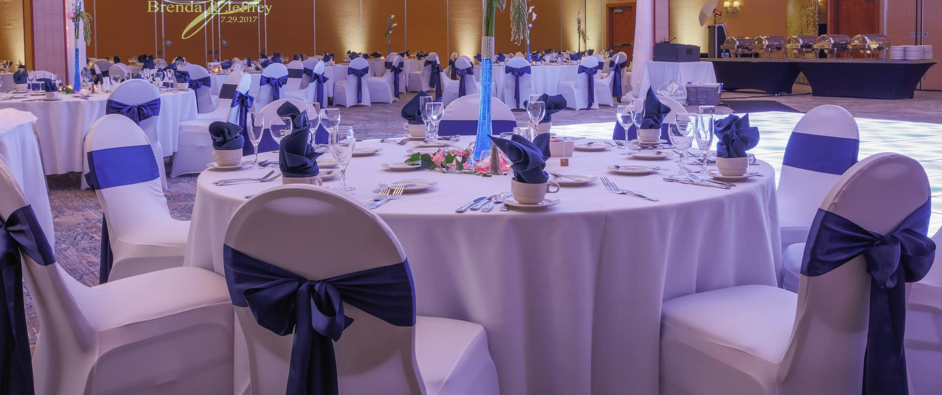 Meeting and Event Space Decorated for Wedding and Reception