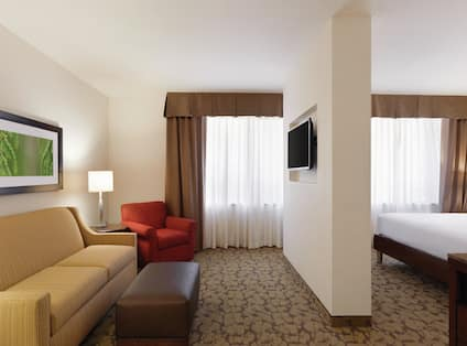 Junior Guest Suite with King Bed and Living Room with Sofa and Television