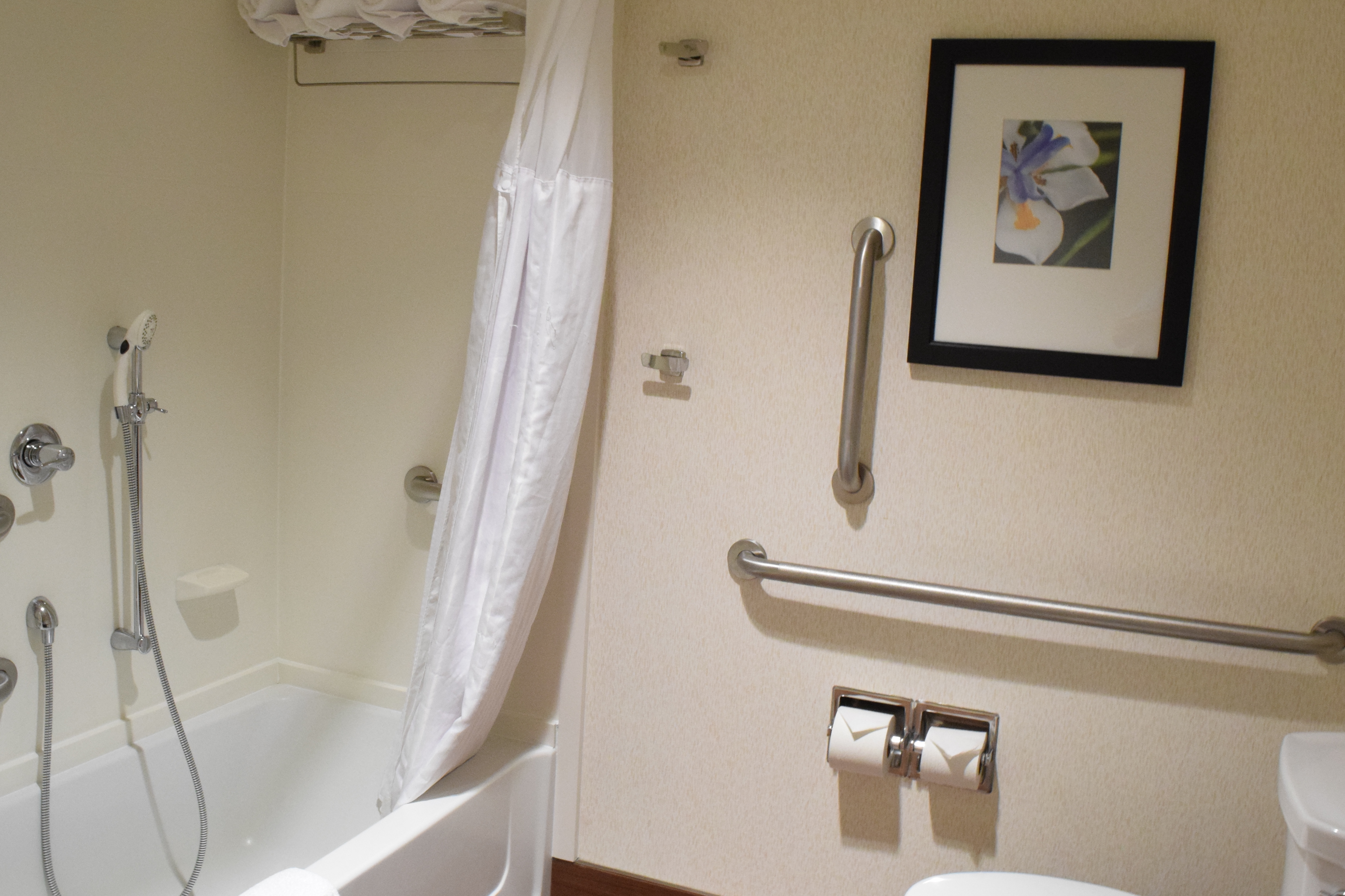 Accessible King Suite Bathroom featuring bathtub and railings