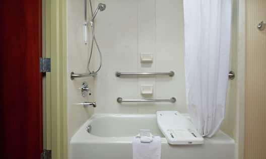 Accessible Bathtub with Handrails and Bench