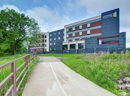 Hotel Exterior and Paved Path