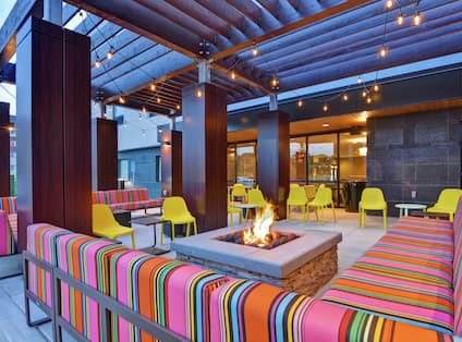 Outdoor Patio Area with Seating and Firepit