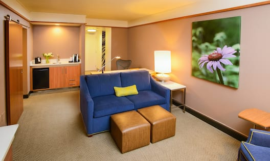 Guest Living Room with Sofa, Footrests, Work Desk and Beverage Station