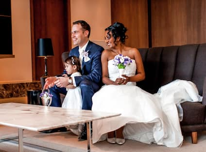 A Couple Celebrating their Wedding