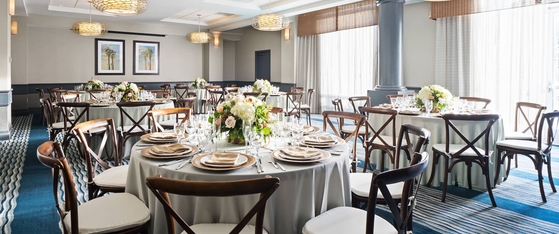 Meeting Room with Decorated Round Banquet Tables