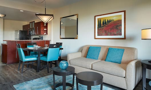 View of Kitchen and Living Room Area in Suite