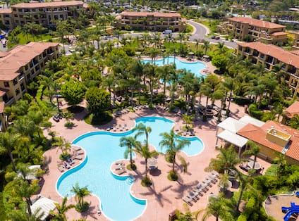 Aerial View of the Pool and Hotel Grounds