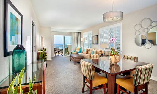 Dining Table and Living Area with Ocean View