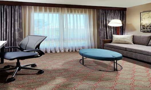 King Sofa, Desk and Window in Hotel Suite