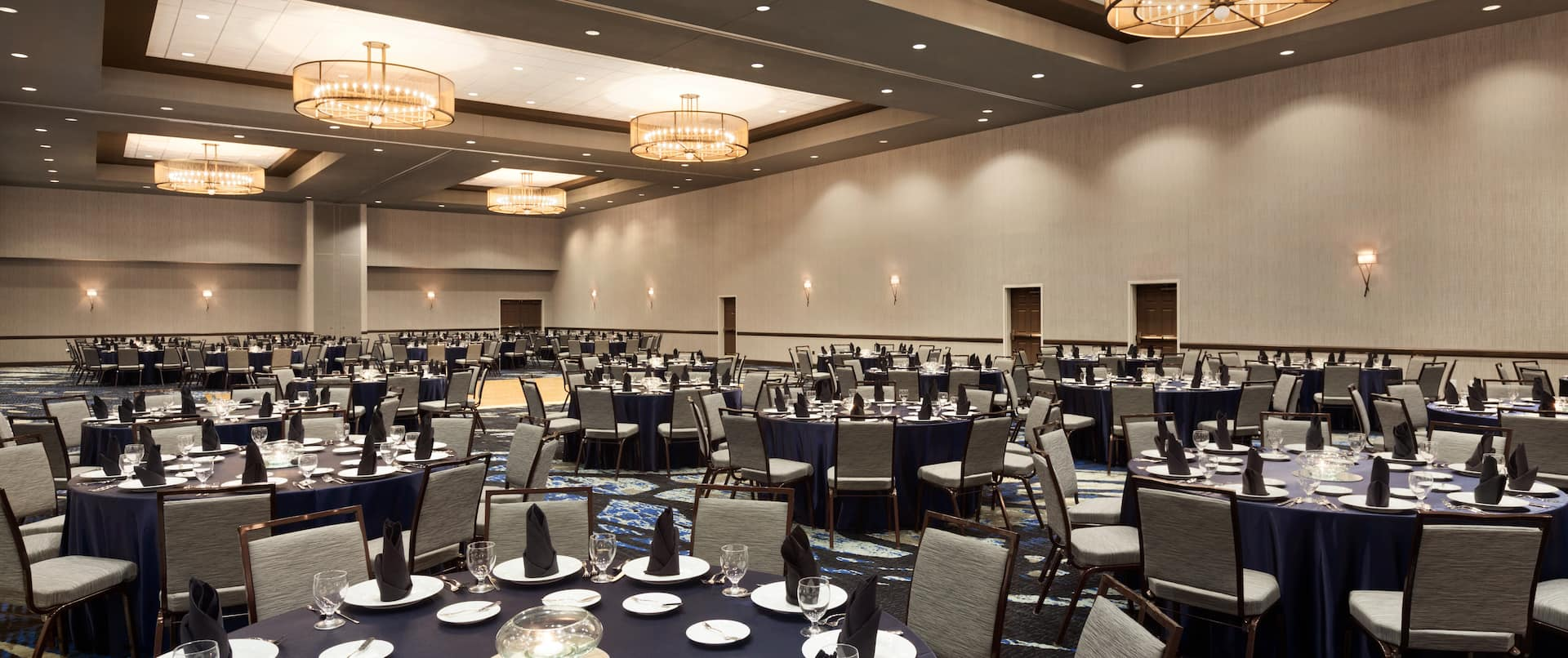 Hotel Ballroom with Banquet Setup