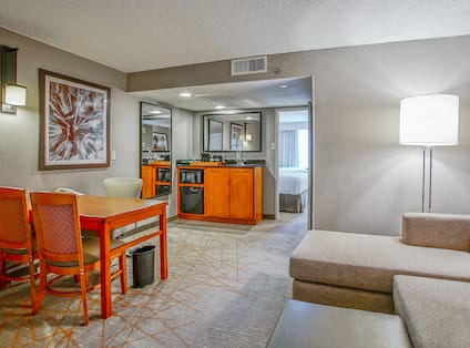 Couch and table in suite