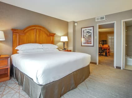 King sized bed in suite