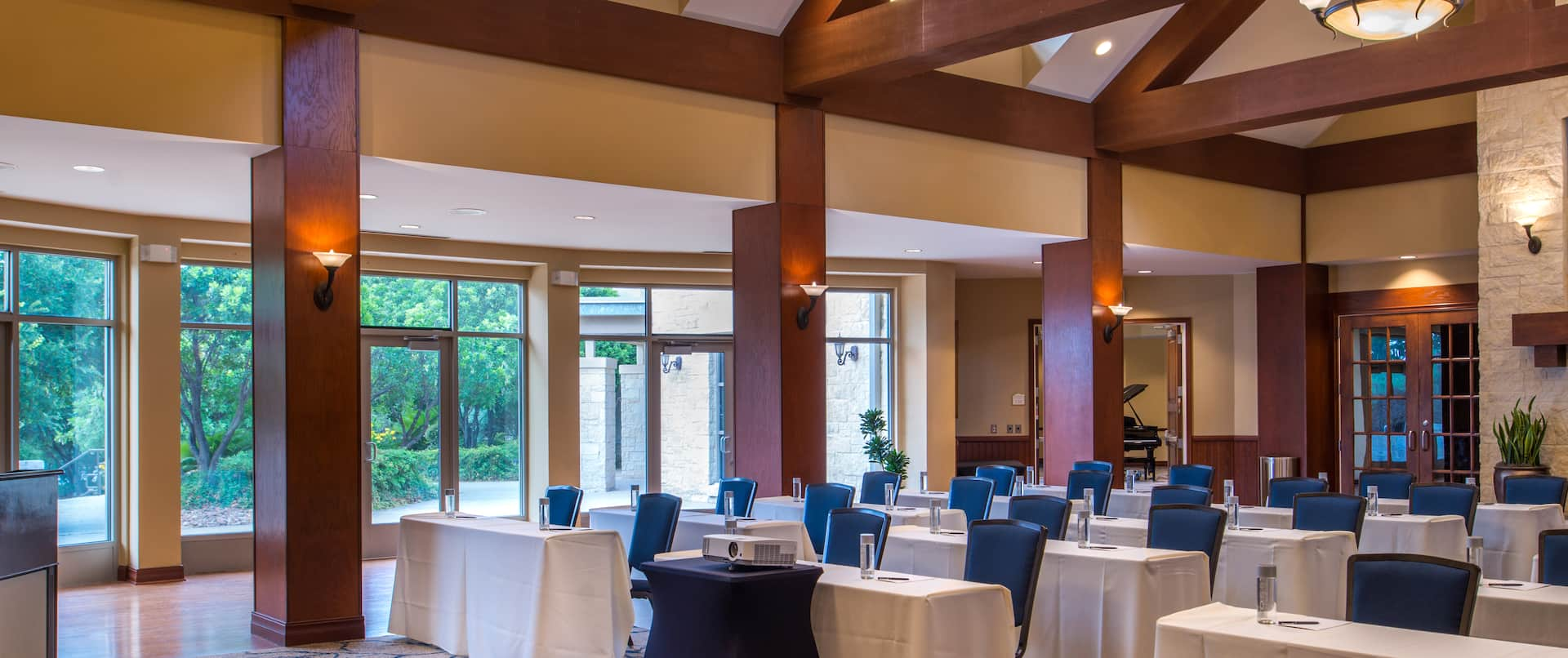 Meeting and Banquet Venue with Open Ceiling and Large Timber Beams Exposed