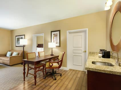 Guest room Living Area and Kitchenette Counter