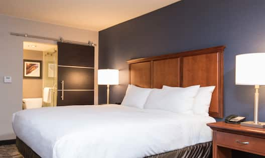 King Guestroom with Bed and Bathroom View