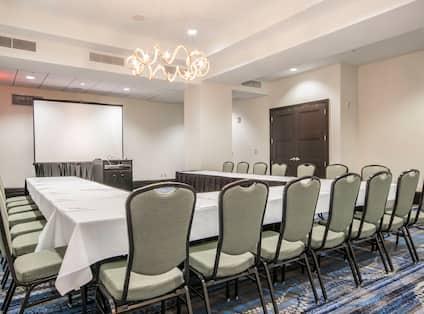 U-Shaped Table, Presentation Screen and Podium