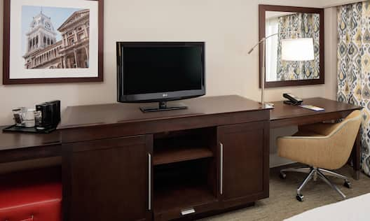 Guestroom media station and work desk