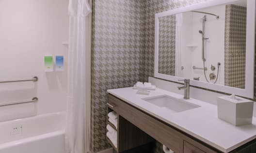 Modern and spacious accessible suite bathroom