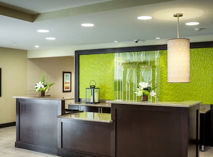 Green Signage Behind Front Desk With Flowers and Wall Art in Lobby