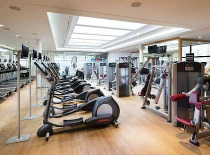 Fitness Center with Treadmills Recumbent Bikes and Strength Equipment