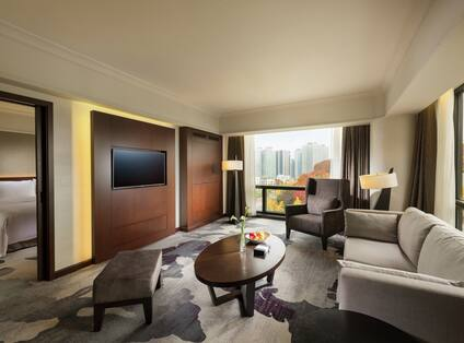 Executive Living Room Area with Sofa and HDTV