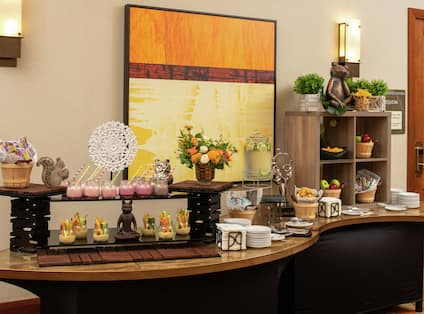 a counter with catering for a meeting