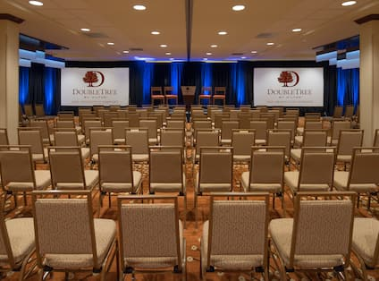 Ballroom Theater Setup with Two Projector Screens