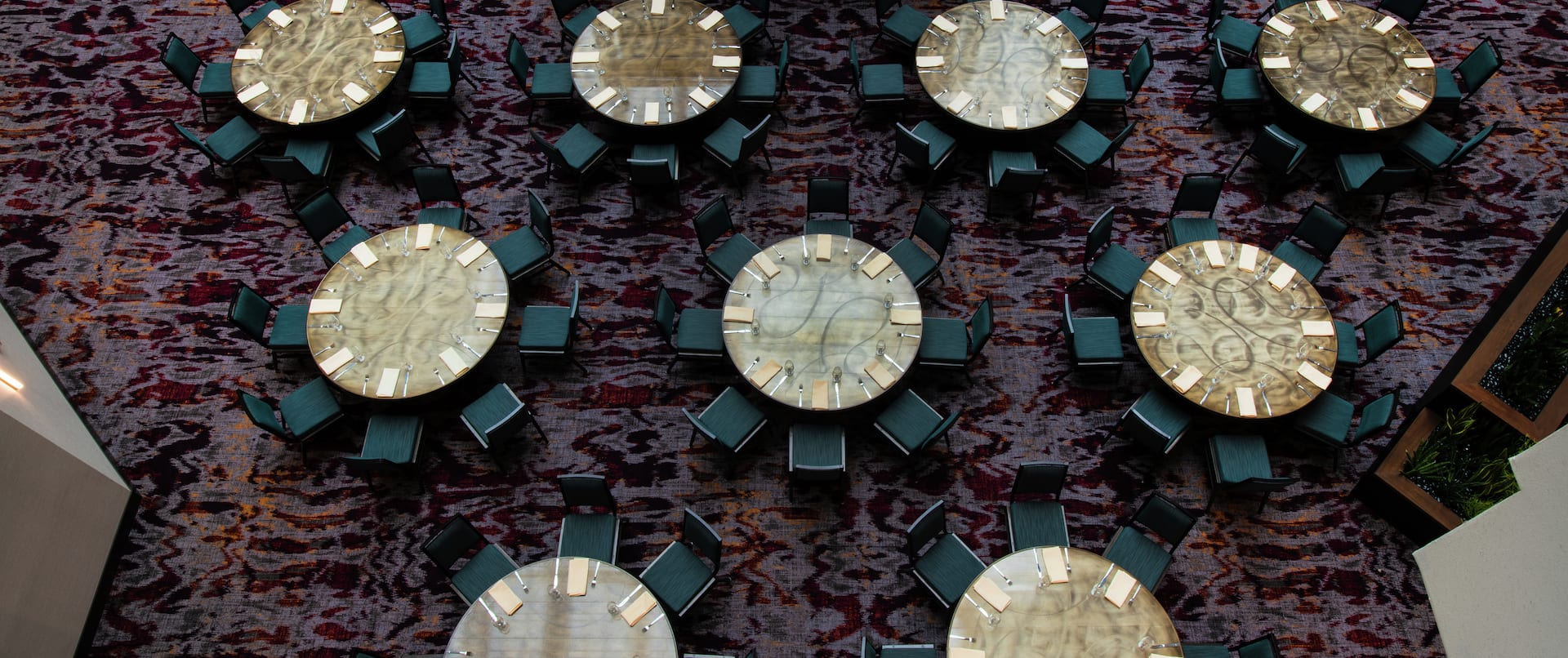 Aerial View of Atrium with Round Tables and Chairs