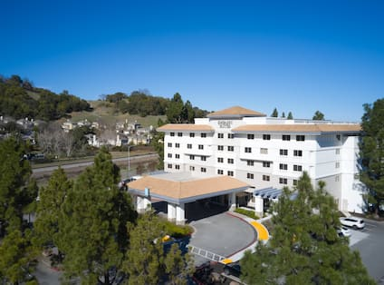 aerial view of hotel exterior