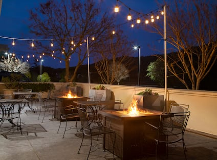 ballroom outdoor terrace with fire pits