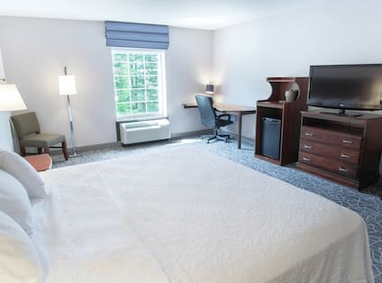 King Accessible Guest Room with Desk Fridge and TV