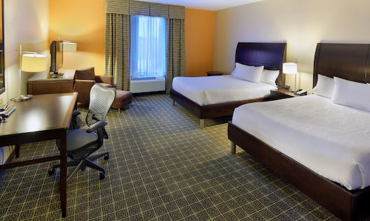 Accessible Guest Room with Two Queen Beds, Work Desk and Television