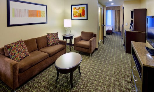 Guest Suite Lounge Area with Sofa and Television